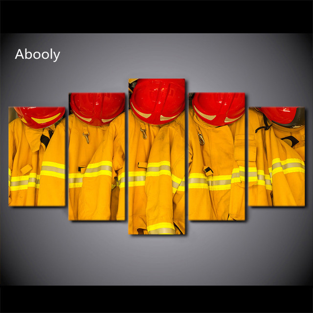 5Piece Canvas Art Fire Fighting Clothes Caps Painting Posters Joke ...