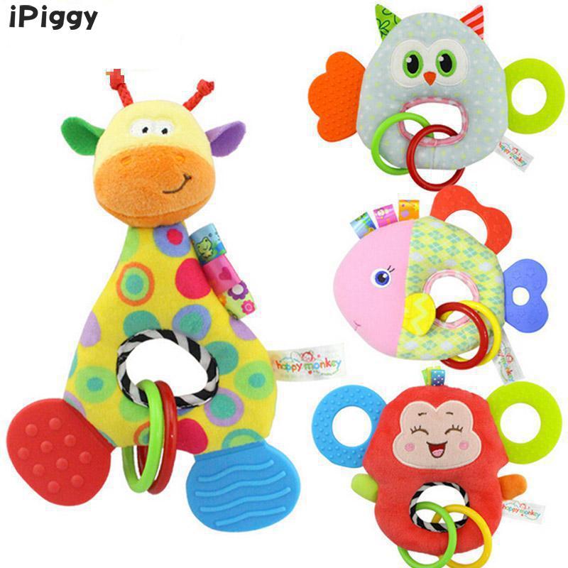 IPiggy Baby Rattles Hand Bell Toy Owl Giraffe Monkey Fish Animals Plush Baby Rattle Happy Monkey Gift Cradle Infant Toys