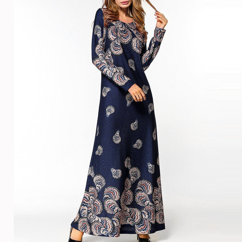 KLV Turkish Islamic Malaysia Long Sleeve National Style Printed Robe Muslim Dress Abayas For Women Robe Musulmane Dubai Clothing