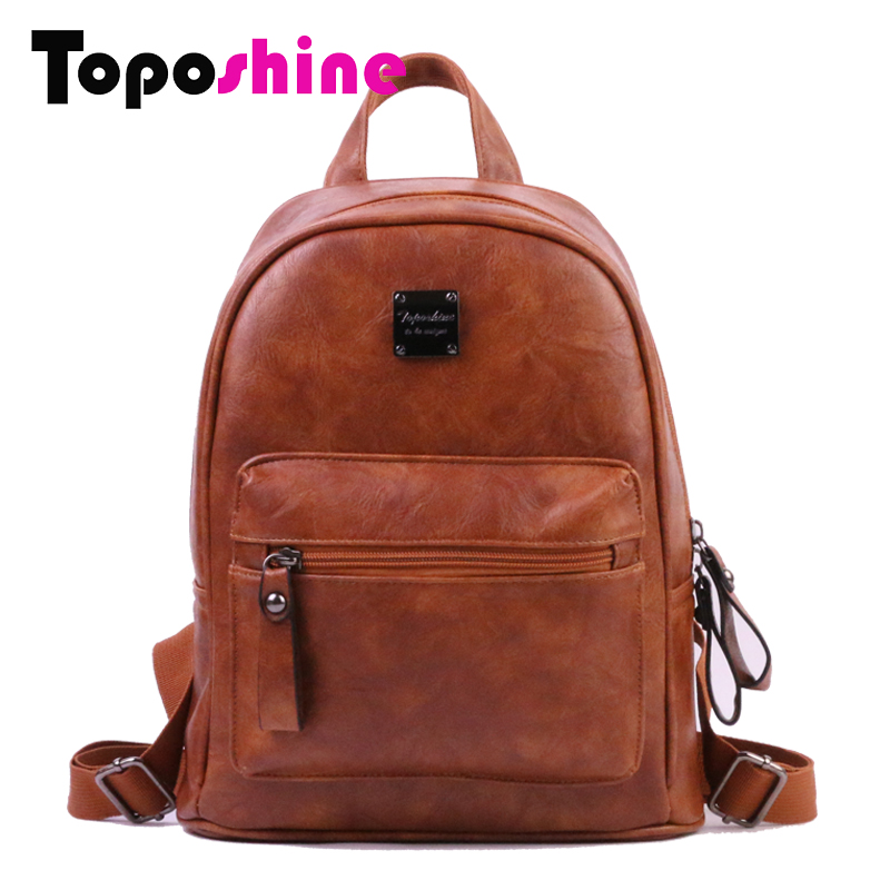 Toposhine New Soft PU Leather Women Backpack Fashion Girl School Bag Good Quality Lady Bags Simple Style Female Backpack 1792 women pu leather backpack mansur lady leather backpack girl leather school bag free shipping fashion girls bag