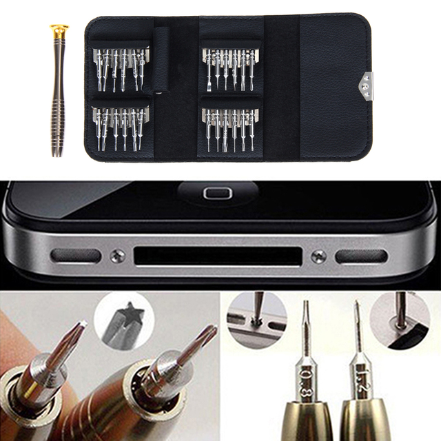 25 in 1 Screwdriver Set First-aid Kit Repair Opening Tools Pentalobe Torx Phillips Screwdrivers Kit for iPhone PC Camera Watch