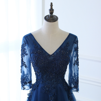 Hot Long Evening Dress Dark Blue Lace Embroidery 3/4 Sleeved Banquet Mother Of The Bride Dresses Robe De Soiree 2