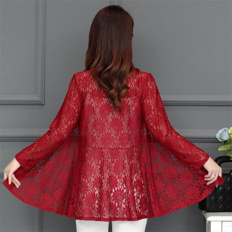Long Women Lace Coat Cardigan Summer Plus Size Pink Net Yarn Hollow Out Sun  Clothes Shawl Women Coats Elegant Black Jacket 5XL-in Basic Jackets from  Women s ... a9196894d4aa
