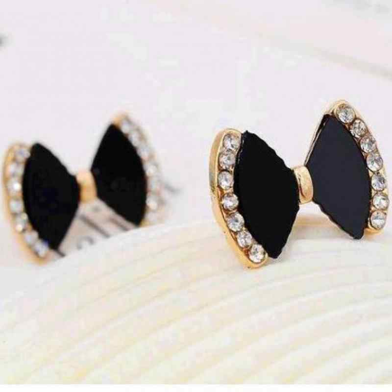 Fine Jewelry New 1 Pair Bow Tie Black Rhinestone Crystal Bowknot Stud Earring For Women