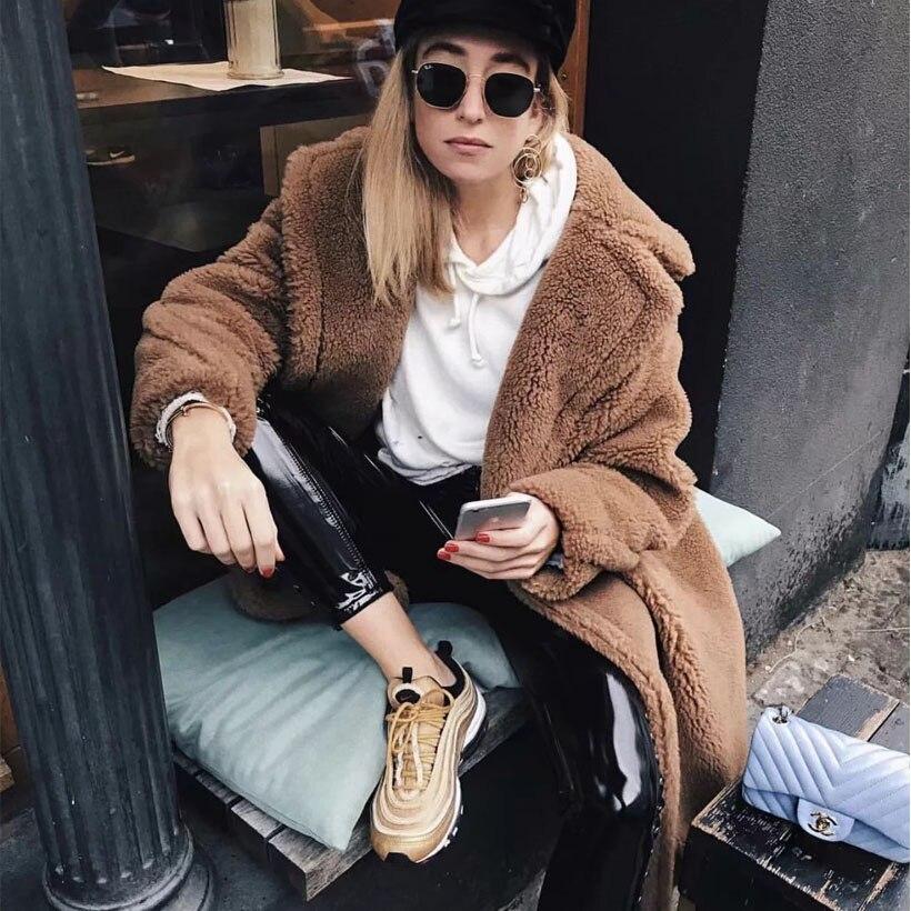ce0845ffd17 Ellacey 2018 Camel Lamb Faux Fur Coat Women Teddy Bear Winter Woman Coat  Artificial Fur Turn down Collar Long Outwear Female-in Faux Fur from Women s  ...