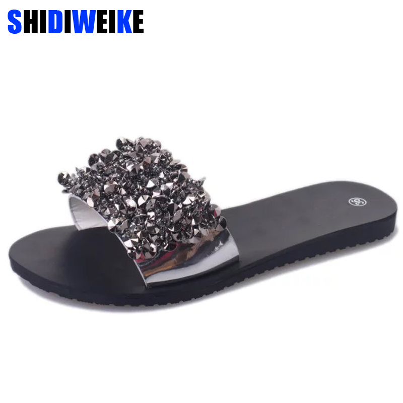 2018 Shoes Woman Flats Flip Flops Women Wedges Sandals Fashion Rivet Crystal Platform Female Slides Ladies Shoes m557
