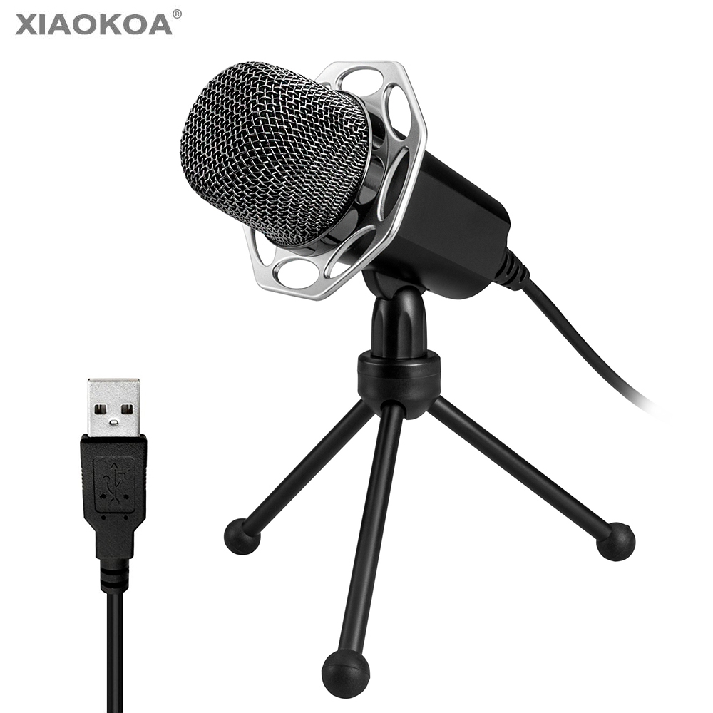 Professional USB Microphone for Computer Condenser microphone With Stand for Karaoke Recording Windows MAC PC XIAOKOA