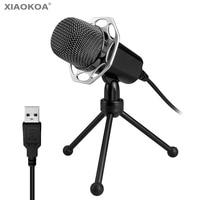 Profissional microfone Condensador USB Microfone para Computador Com Suporte para Windows MAC Gravação Karaoke PC XIAOKOA