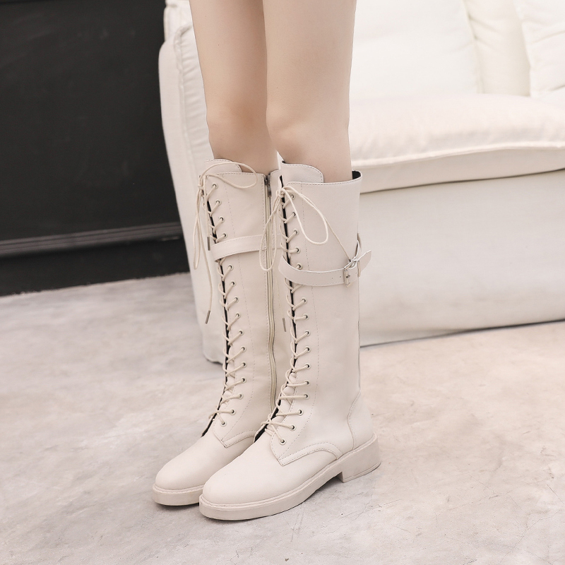 Womens Knee Length Black Leather Boots