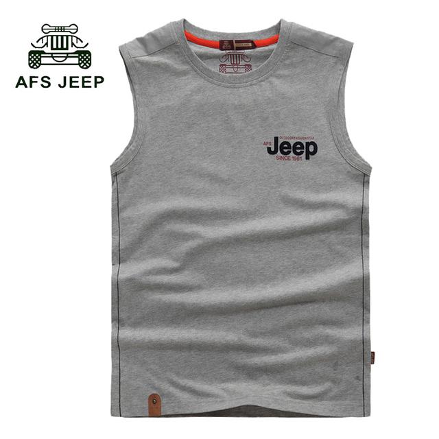 Frete grátis marca afs jeep o-pescoço sem mangas tanque t-shirt top de algodão super macio homens clothing moda casual vest m-3xl 40