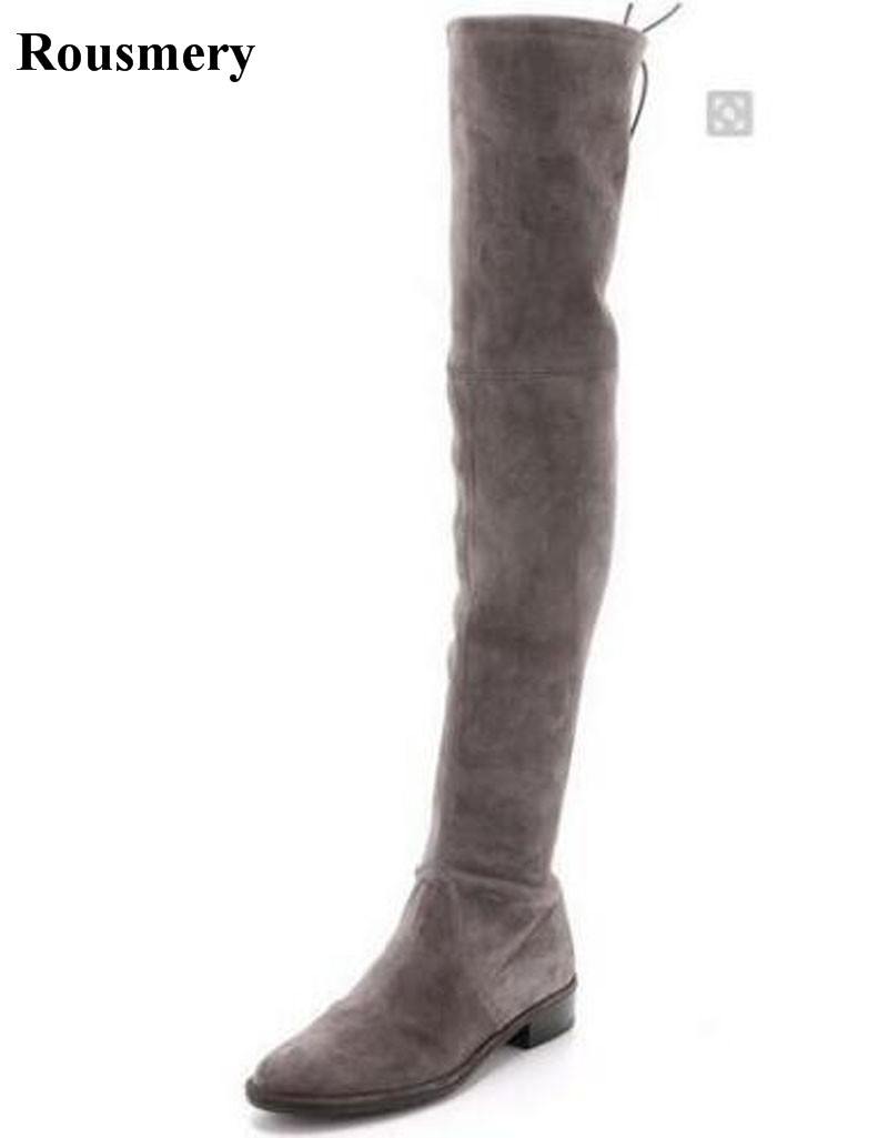 Women Fashion Round Toe Slim Style Over Knee Elastic Band Over Knee Boots Suede Leather Bandage Long Flat Boots Winter Boots цена 2017