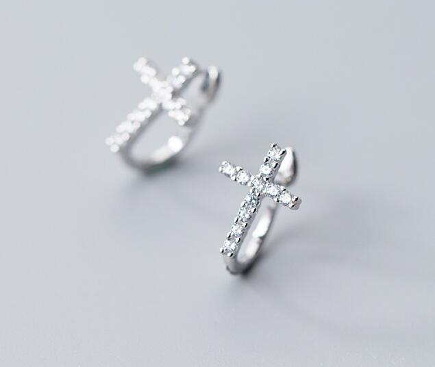100% Real. 925 Sterling Silver Fine Jewelry White CZ Stone set Cross Clip Earrings (NO pierced) gtle2076