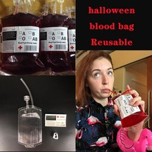 1pcs 350ml PVC Clear Blood Bag Vampire Energy Drink Reusable Halloween Decoration Props Party Supplies