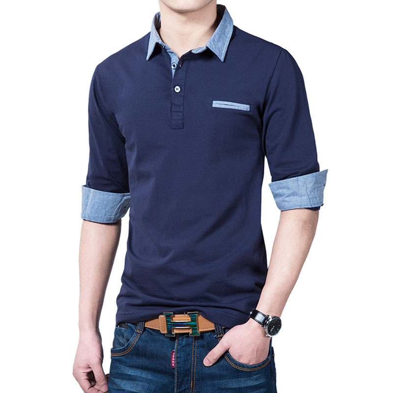 Men Polo Shirt Long-sleeve Plus Size 2019 New Spring And Autumn Casual Male Polo Shirt Cotton Blue White Black Korean Style P02