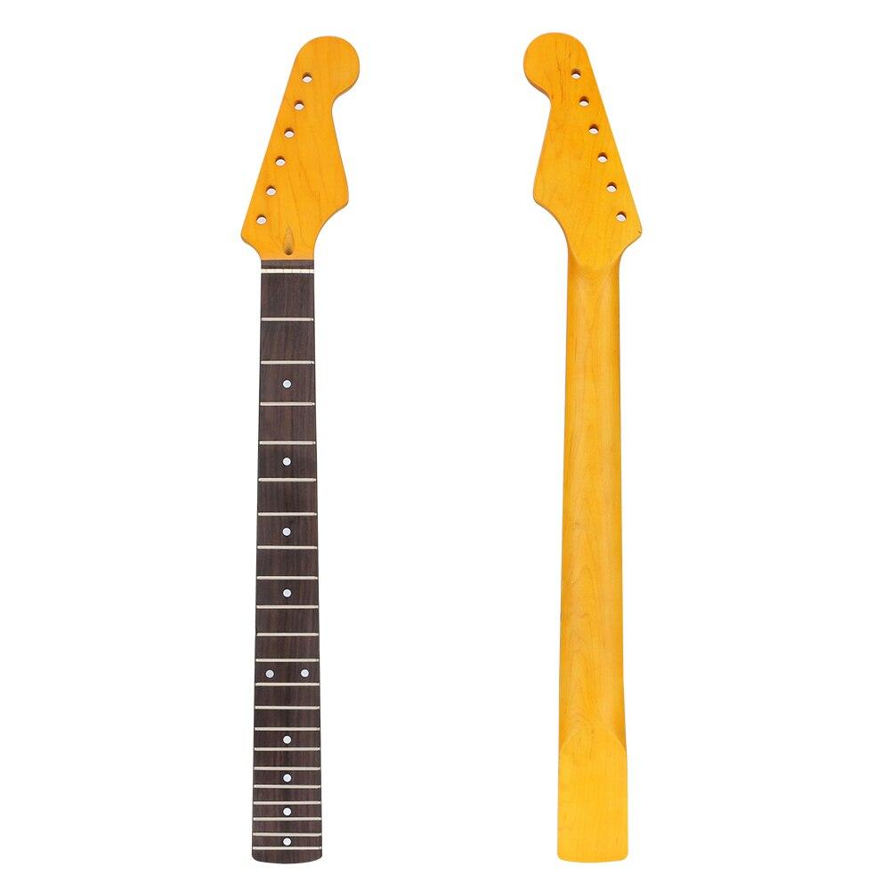 1 pièces 21 frette érable bois guitare cou de remplacement guitare cou pour ST guitare électrique Abalone Dots naturel jaune peinture