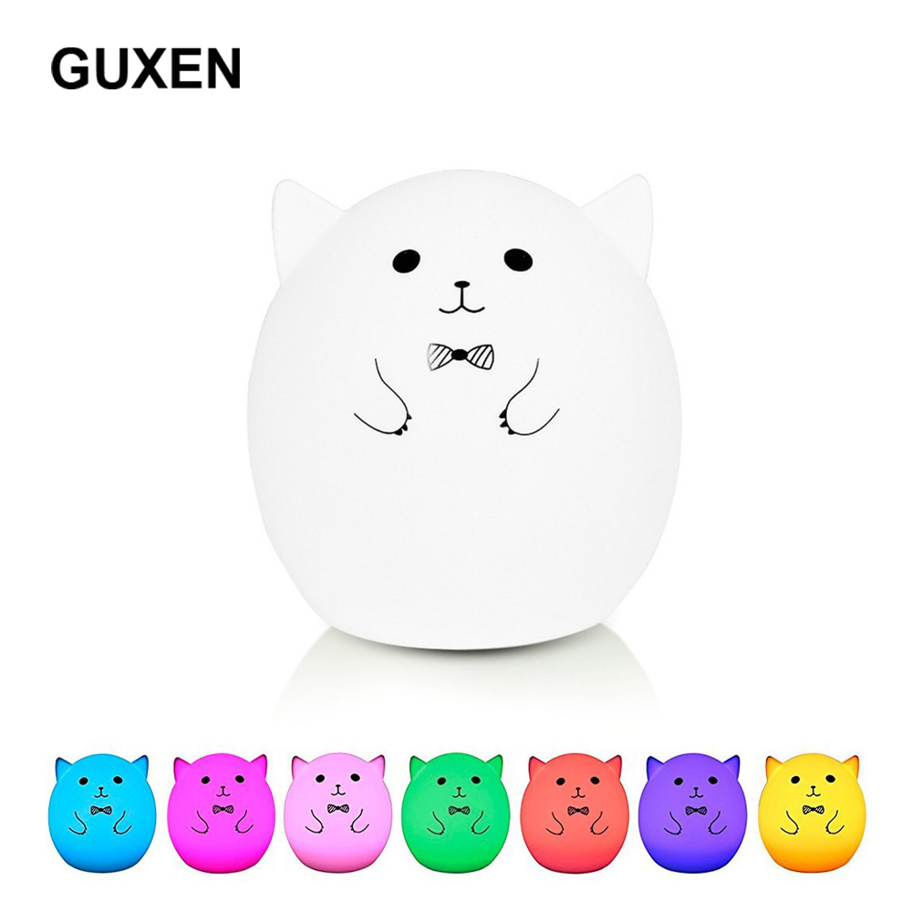 Guxen Gentman Pet Pig Animal Colorful USB Rechargeable Touch Sensor Lamp for Children Room Bedroom Silicone Night lamp lighting