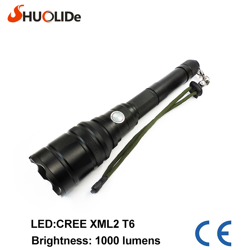 high quality waterproof T6 1000Lumens CREE XML2  LED Flashlight power Torch light For 3xAAA Battery or 2x18650 battery led torch new flashlight 18000 lumens high power 15x xml t6 led torch 1000m lighting distance hunting light by 4x 26650 battery