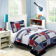 CHAUSUB Quality Kids Quilt Set 2pcs Washed Cotton Quilts Patchwork Quilted Bedspread Bed Cover Twin Size Boys Coverlet Blanket