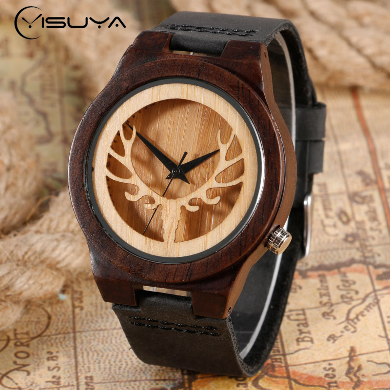 YISUYA Vintage Wooden Deer Head Watches Men's Cool Black Leather Band Novel Elk Moose Dial Bamboo Wood Quartz Analog Wristwatch