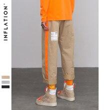 Inflacja fluorescencja boczne proste spodnie na co dzień Streetwear Hip hop Swag luźny krój Cargo spodnie bawełniane spodnie markowe 8863W