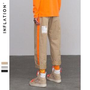 Image 1 - Pantalones rectos informales por los lados de fluorescencia inflados, ropa de calle, estilo Hip hop, pantalones holgados de corte Cargo, pantalones de marca de algodón de 8863W