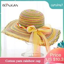 BONJEAN Bow-knot Big Dome Hat Summer Ladies Cotton Yarn Rainbow Outdoor Beach Sun Visor Straw 2019 New Girl Gift