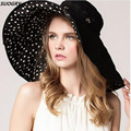 Top Quality Lady Sun Hat Summer Sun Cap Women Folded Wide Brim Dot Printing Cap Large Brim Hat