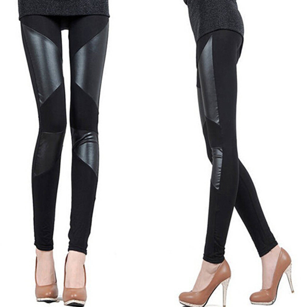 3 Patterns Black Women Leggings Faux Leather 2019 New Slim Fit Women Splicing Sexy Stretch Stripe Cotton Legging Pants Free Size