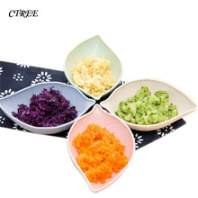 CTREE Small Seasoning Dish Wheat Straw Leaf Household Dip Clips Sauce Salt Vinegar Spices Creative Tableware Dishes Plates C710