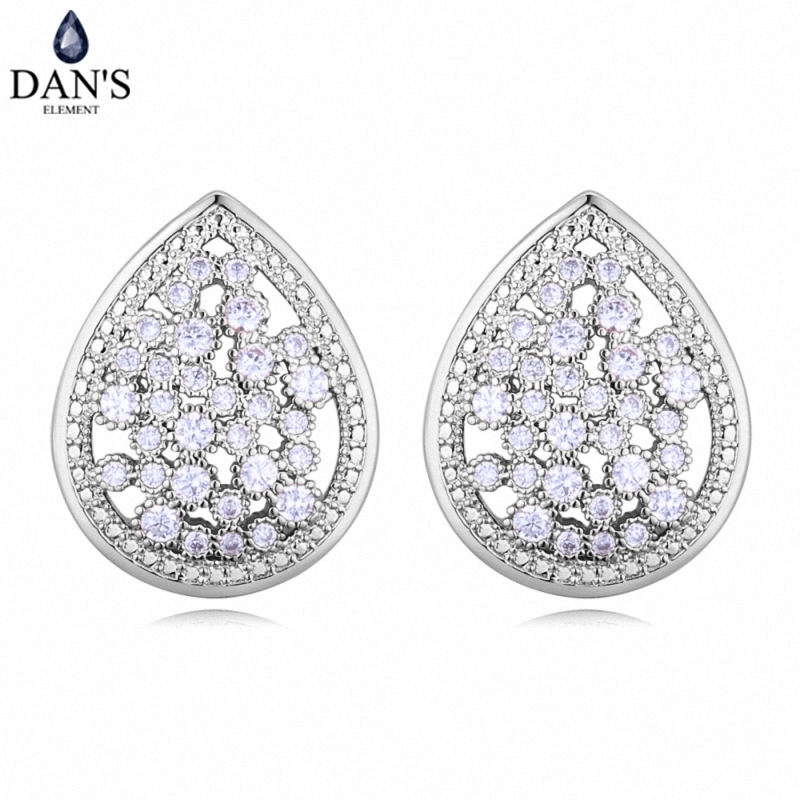 DANS 3 Colors Real Austrian crystals Stud earrings for women Earrings s New Sale Hot Round 128635