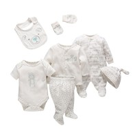 2018 Vlinder 7Pcs Set Newborn Sets Baby Girl Boy Clothes England Style Soft Cartoon Cotton Bear
