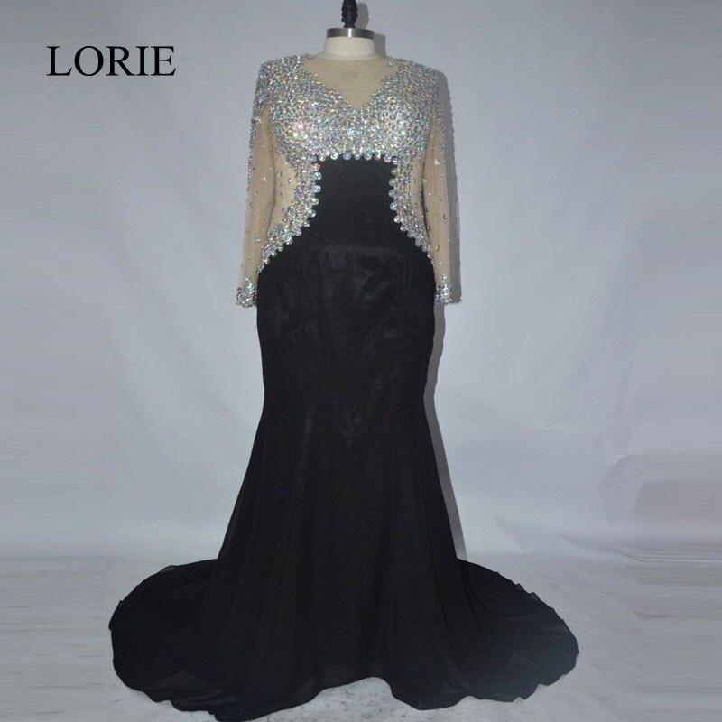 Plus Size Black Evening Dresses 2017 Abendkleider Rhinestone Mermaid Prom Dresses Long Sleeve Formal Party Gowns Custom Made