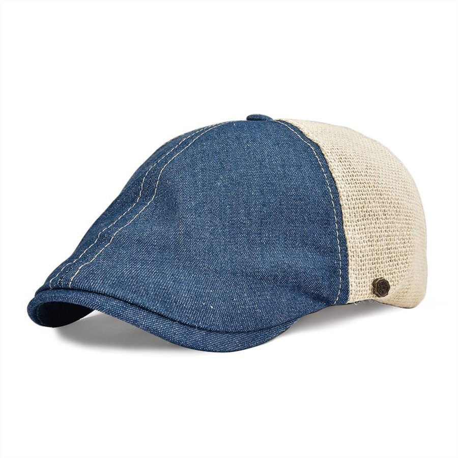 VOBOOM Denim Cotton Linen Flat Cap Men Women Ivy Caps Cabbie Beret Hat Boina 143