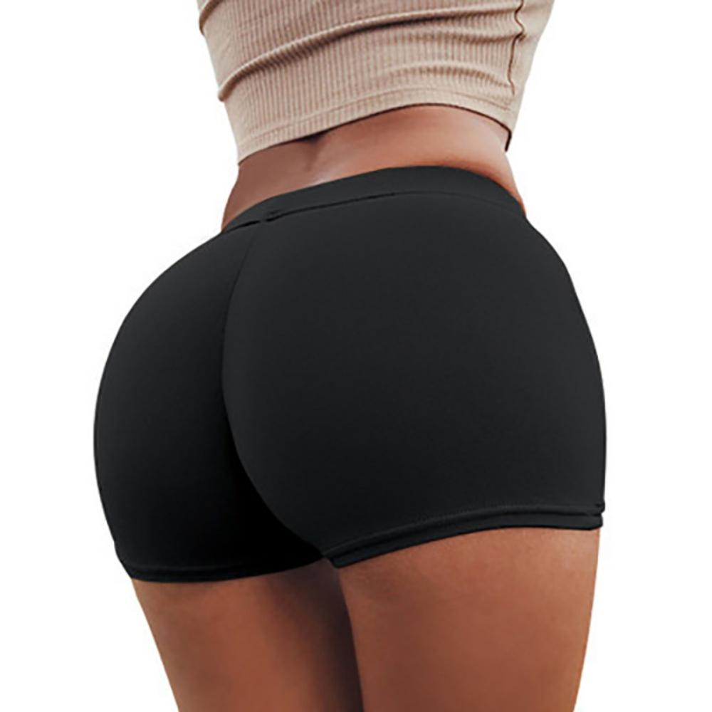 2020 Explosive Women's Casual Sports Fitness Clothes High Waist Elastic Stitching Shorts Hip Shorts Black White Gray Wine Red!