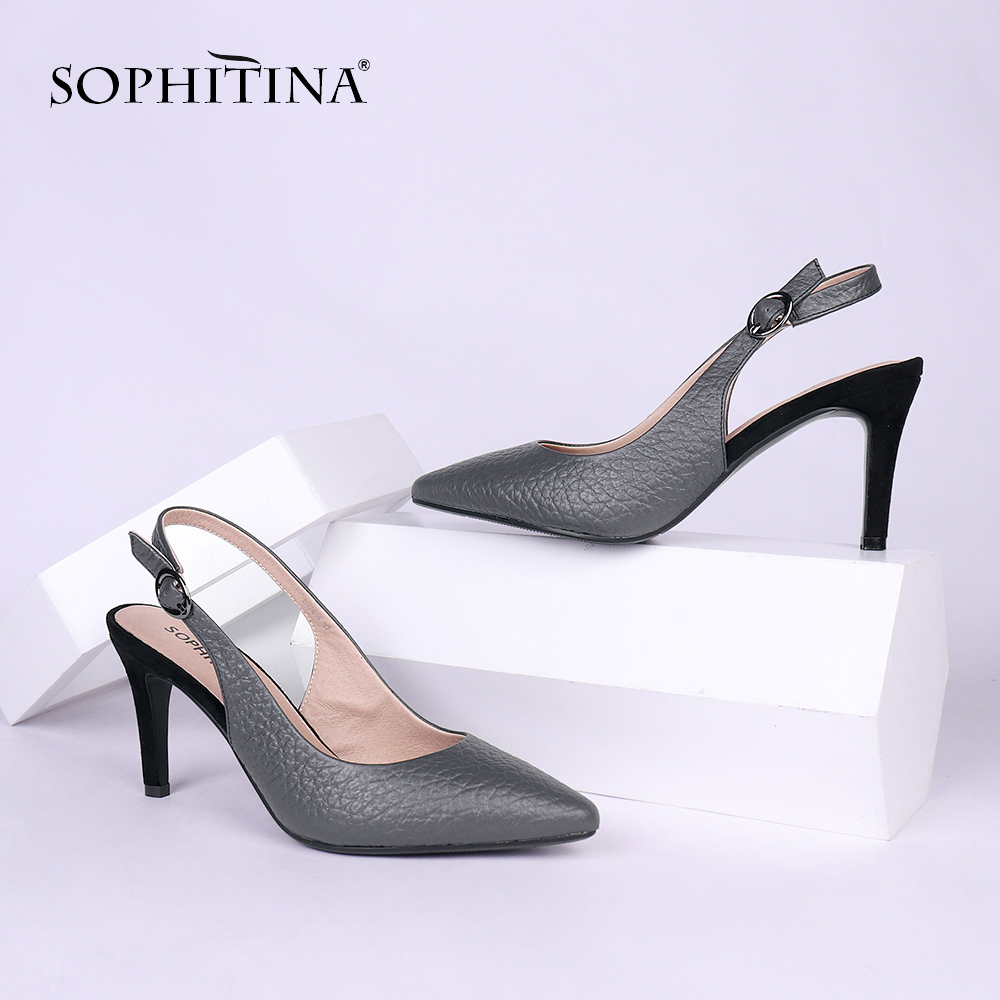 SOPHITINA Sexy Genuine Leather Office Ladies Sandals Basic Buckle Strap High Heel Shoes Spring Autumn Thin Heel Women Sandals X1