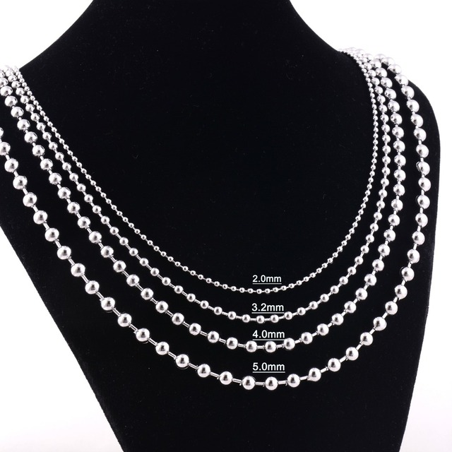 italian beaded white gold inches image moon ebay ball wg cut necklace chain