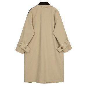 Image 2 - EAM coupe vent pour femmes, nouveauté, style style style printemps automne, coupe vent à revers à manches longues, boutons dépissage, Bandage, ample, grande taille, à la mode, JY712