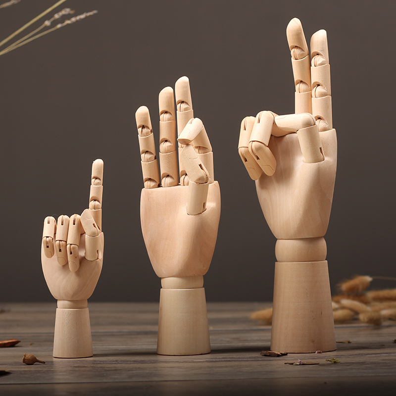 1pc Funny Wooden Hand Painting Sketch Model People Children Intelligence Development Toys Simulation Mold Home Decor Ornament
