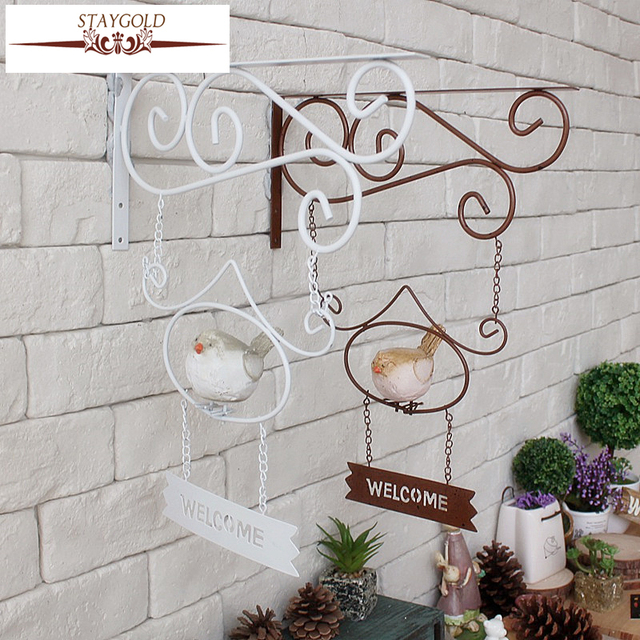 Vintage Home Decor Cafe Clothing Wall Hanging Garden Wind Wrought Iron Birds Welcome Tag