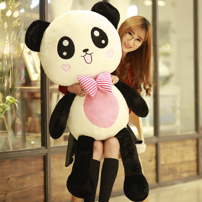 large 120cm love heart bowtie panda plush toy panda doll soft hugging pillow birthday gift, Xmas gift 0322 stuffed animal 120 cm cute love rabbit plush toy pink or purple floral love rabbit soft doll gift w2226