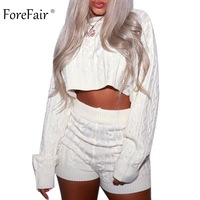 Forefair Women Knitted Sweater Crop Top Two Piece Set Sexy Batwing Sleeve Oversized Knit Short Sweaters 2018 Winter
