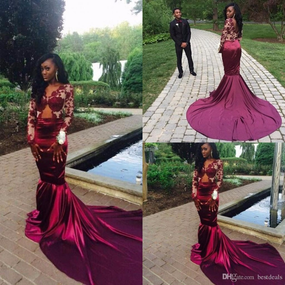 fa6f4ac553d8 Burgundy Red Wine Lace Mermaid Evening Dresses 2017 Sexy Backless Court  Train Sheer Prom Dresses Vestiods Formal Women Gowns