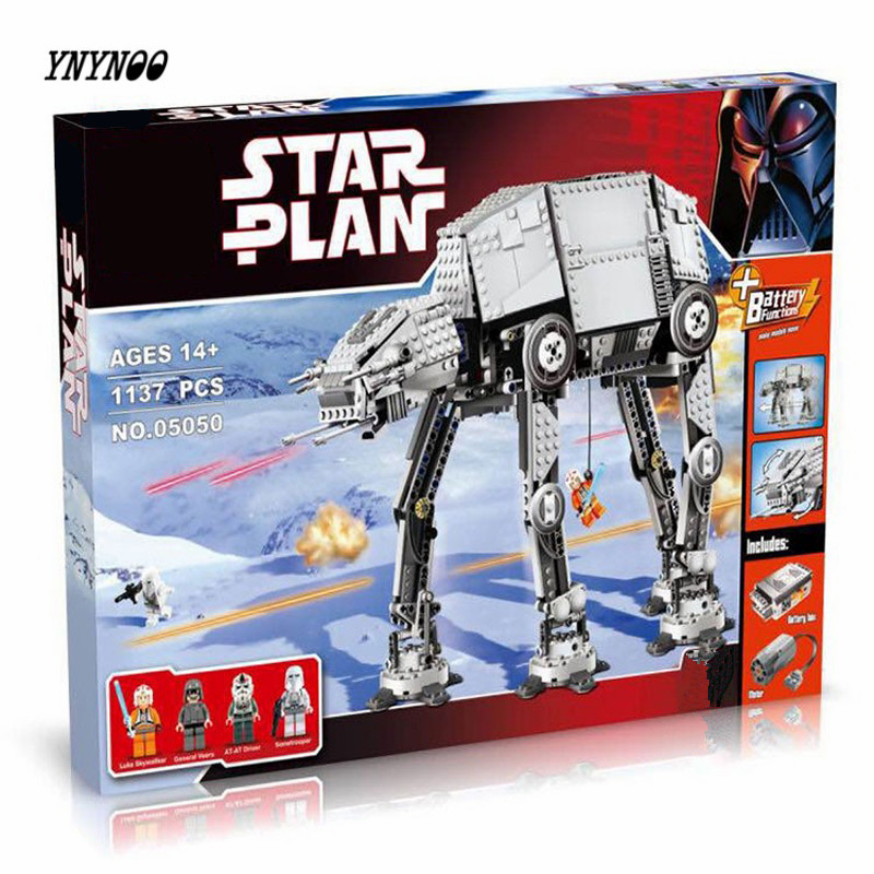 YNYNOO 2017 New LEPIN 05050 1137Pcs Star Wars Motorized Walking AT-AT Model Building Kit Blocks Bricks Compatible Toys 10178 ynynoo lepin 02043 stucke city series airport terminal modell bausteine set ziegel spielzeug fur kinder geschenk junge spielzeug