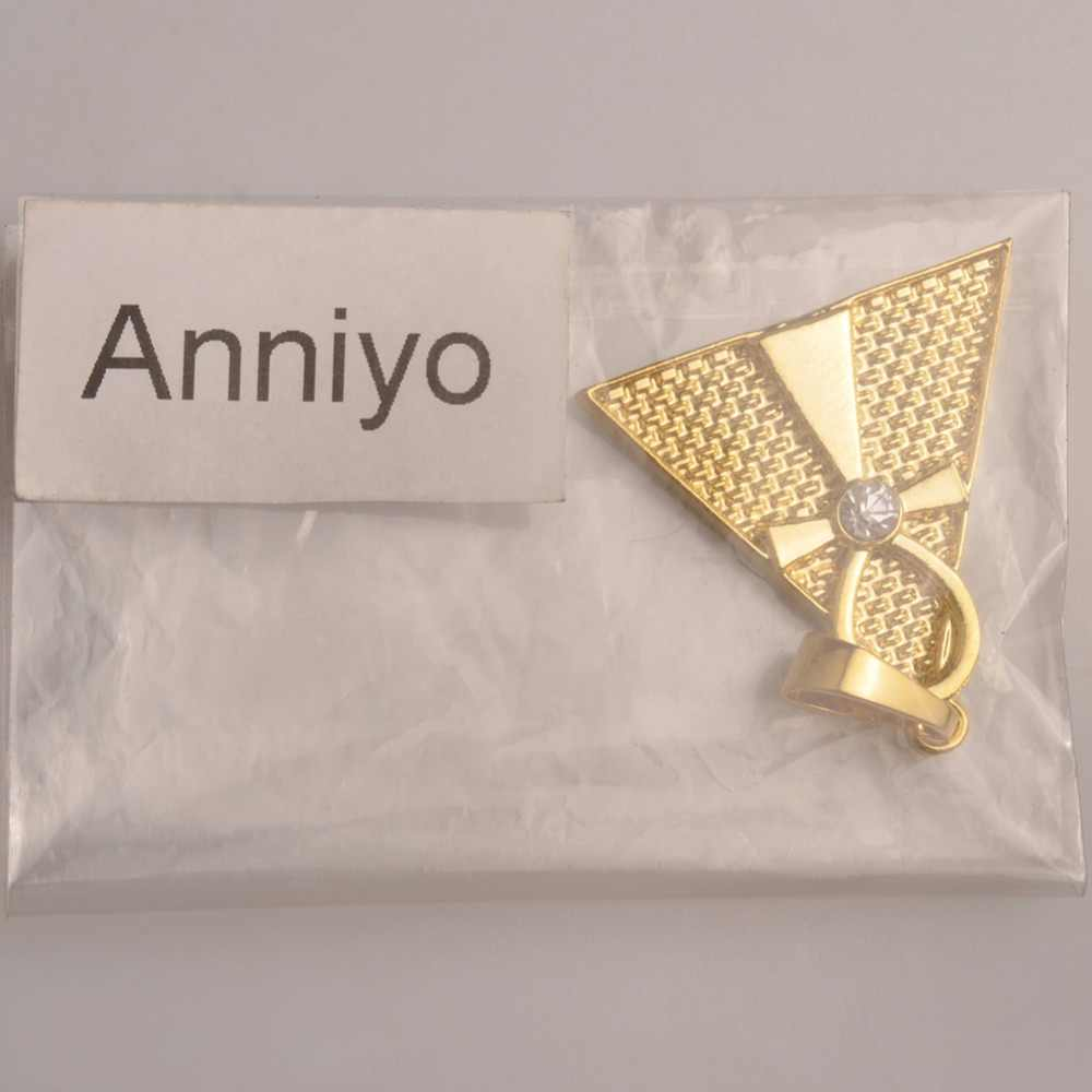 Anniyo egipski Ankh krzyż i piramida wisiorek naszyjnik kobiety/mężczyźni, złoty kolor afryki biżuteria egipt hieroglify, crux Ansata #096806