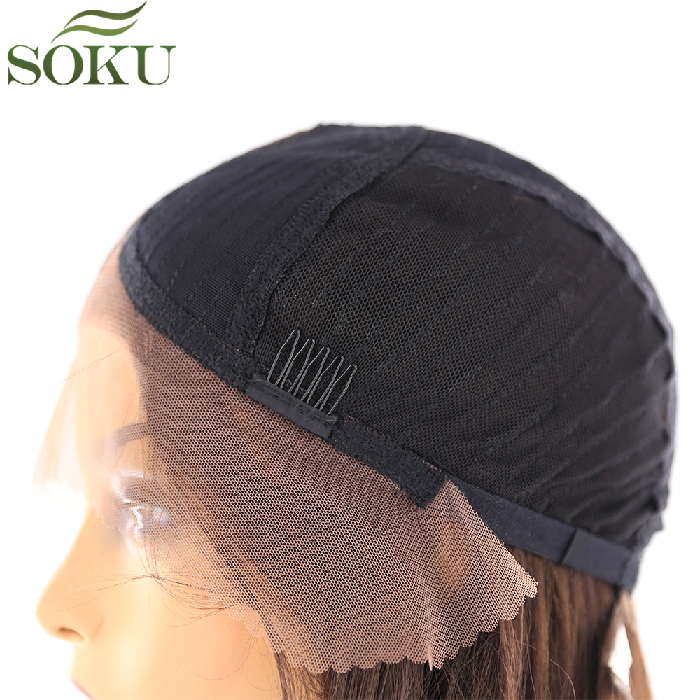 Image 5 - Synthetic Lace Front Wigs Long Straight Middle Part Wig SOKU 130% Density Glueless Heat Resistant Fiber Wigs For Black Women-in Synthetic Lace Wigs from Hair Extensions & Wigs