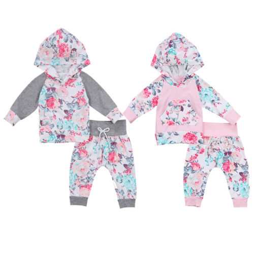Cute Newborn Kids Baby Girls Infant Floral Hooded Cotton Tops Sweatshirts Long Pants Leggings Trousers 2Pcs Outfits Clothes Set