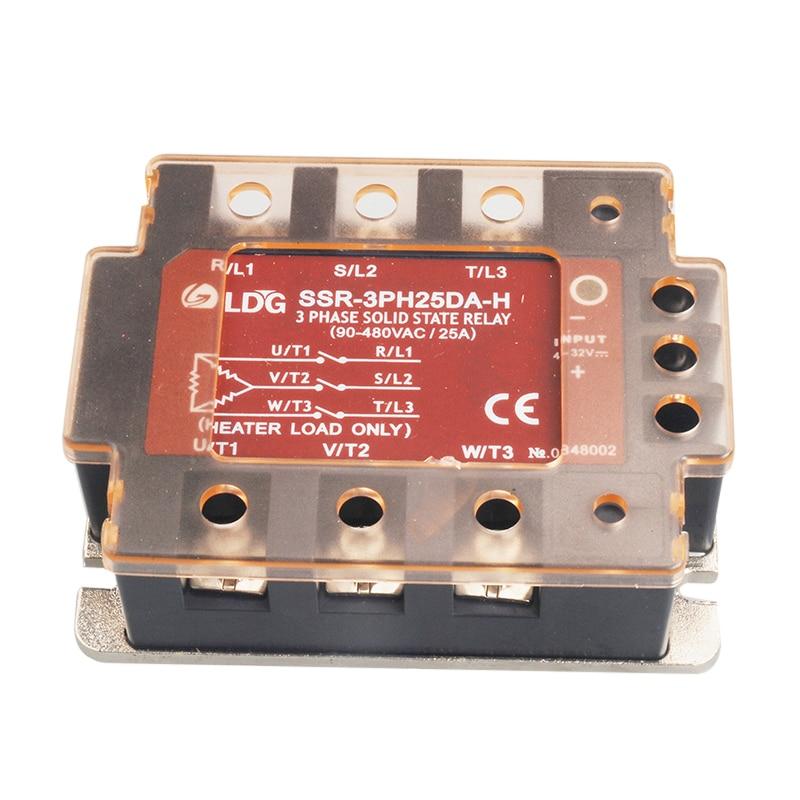 SSR 3PH25DA H 2pcs 3 Three Phase AC Solid State Relay LED 25A /480VAC Input: 3 32V DC control AC SSR Voltage Relay Switch Board
