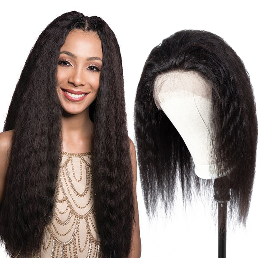 Kinky Straight 360 Lace Frontal Wig Pre Plucked With Baby Hair 150 Density Italian Yaki Lace