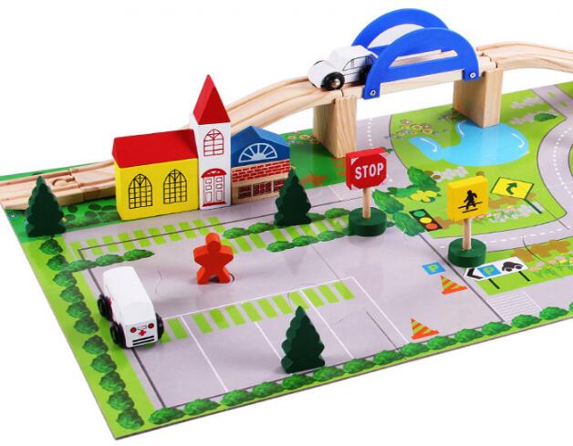 Buy 40pcs Rushed Cars Overpass Wooden Children Traffic Rail Toy Disassembling Combination Track Intersection Baby Educational Toys for only 8.99 USD