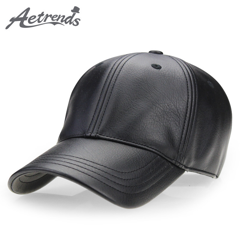 [AETRENDS] Winter black PU leather cap dad hat 6 panel trucker hats solid baseball caps for men bone masculino Z-2658